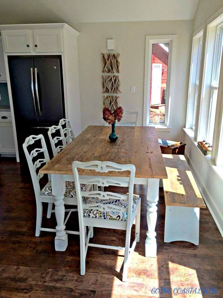 Reclaimed Barn Wood Table Turned Legs Bench By Going Coastal Chester NS