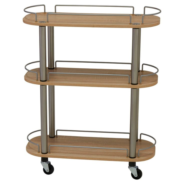 """Household Essentials' 3-Tier Rolling Utility Cart in beautiful light ash is perfect for storing, organizing or serving. This versatile, narrow cart fits into your lifestyle by being what you need when you need it. Use it to organize laundry supplies on its 3 shelves. A low silver chrome rail keeps boxes and bottles from tipping off the shelves. The rolling cart is 28.74""""H x 23.62""""W x 9.84""""D and can easily slide into small spaces. The 3-Tier Rolling Utility Cart from Househo..."""