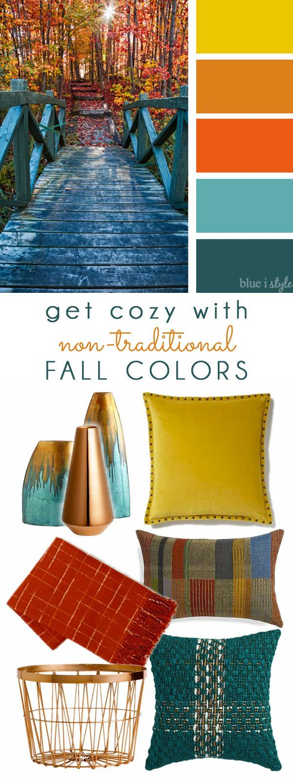 COZY FALL COLORS! A simple mood board to help you bring these non-traditional fall colors of yellow, orange, and teal into your home decor.
