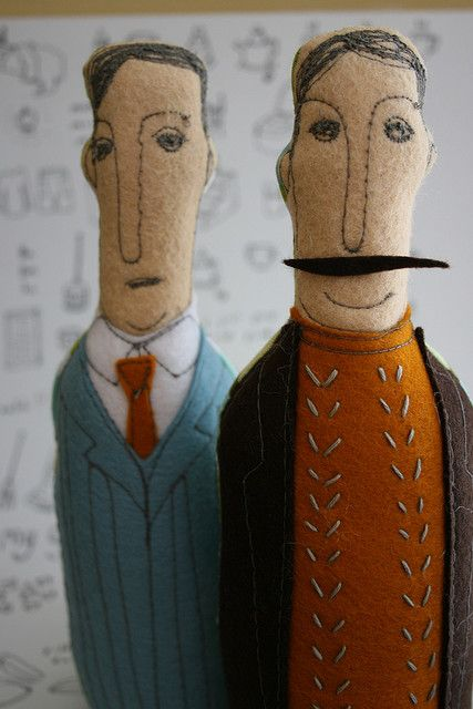 Felt and embroidery dolls. Two dapper gentlemen. I love their fashion sense and mischievous mustachios!