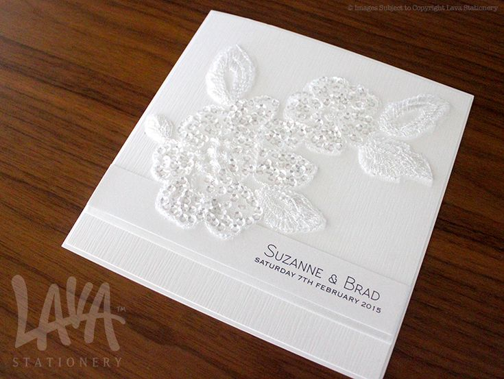 Sequin floral lace wedding invitation by www.lavastationery.com.au