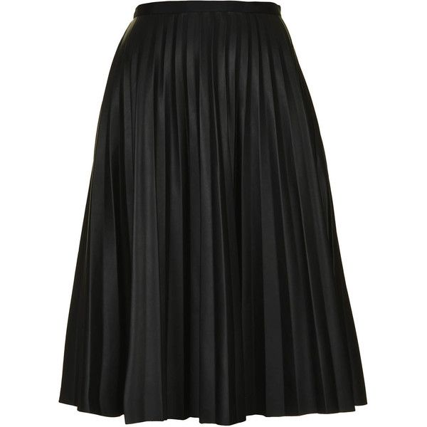 TOPSHOP PU Black Pleated Midi Skirt (€49) ❤ liked on Polyvore featuring skirts, topshop, bottoms, jupe, midi skirt, black, zipper skirt, pu skirt, pleated midi skirt and knee length pleated skirt