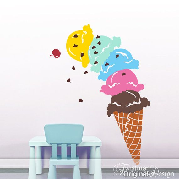 Giant Ice Cream Cone Vinyl Wall Decal Decoration DIY by Twistmo, $120.00