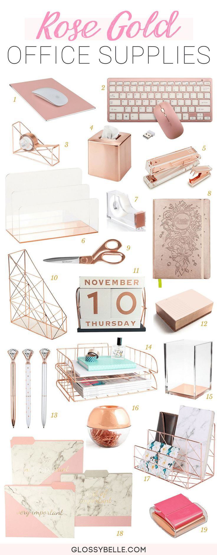 The Ultimate List Of Rose Gold Office Supplies & Desk Accessories