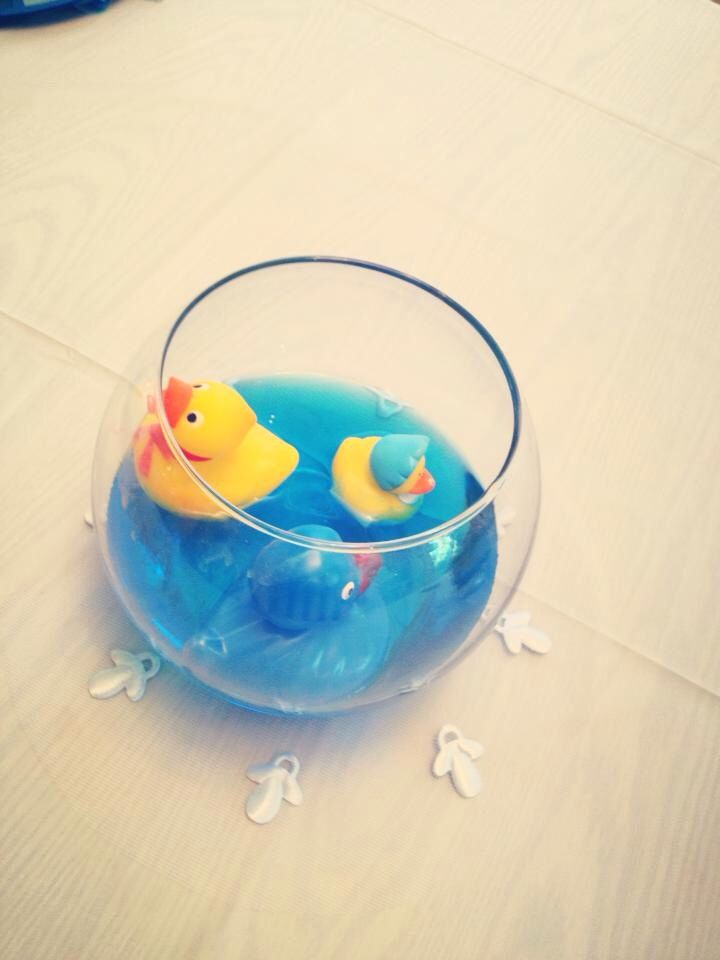Table Decoration For Rubber Duck Baby Shower. I Put Several Down The Center  Of The