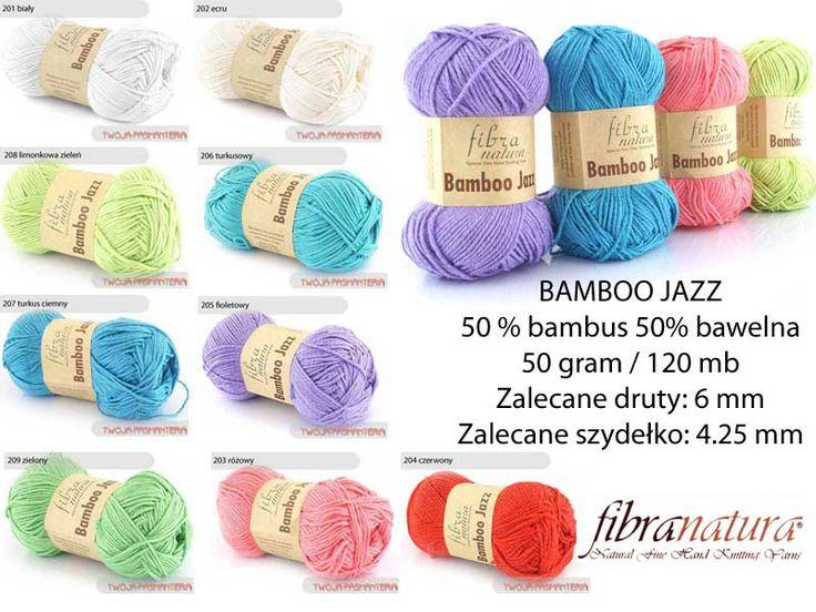 WŁÓCZKA BAMBOO JAZZ włóczka turecka Ta mieszanka bawełny i bambusa doskonale nadaje się na letnie wyroby. Jest bardzo miękka i delikatna