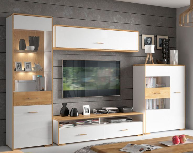 HIGH GLOSS WHITE - Oak Natural Living Room Furniture Set with Lights BARI