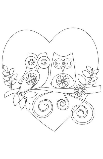 Valentine or love 2 images free printable owl coloring pagescoloring