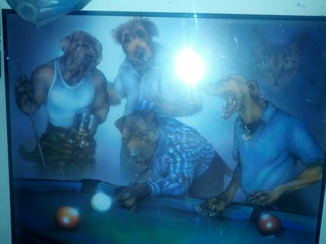 Haha dogs playing pool....creepy cat in the back ground tho