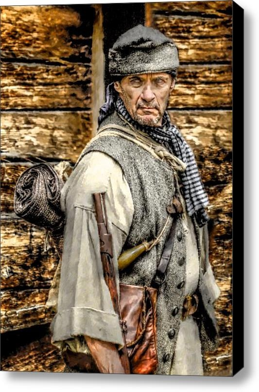 """On the American Frontier: """"True to its Scottish and Irish roots, the culture that dominated this region was openly unafraid of higher authority, intent on personal honor, quick to defend itself against of attack of any sort, and deeply patriotic."""" (""""Born Fighting"""" p180, by Jim Webb) picture:   Frontiersman Stretched Canvas Print / Canvas Art By Randy Steele - This print can be purchased from Fine Art America"""