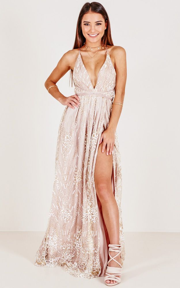 New York Nights Maxi Dress In Gold Produced 2