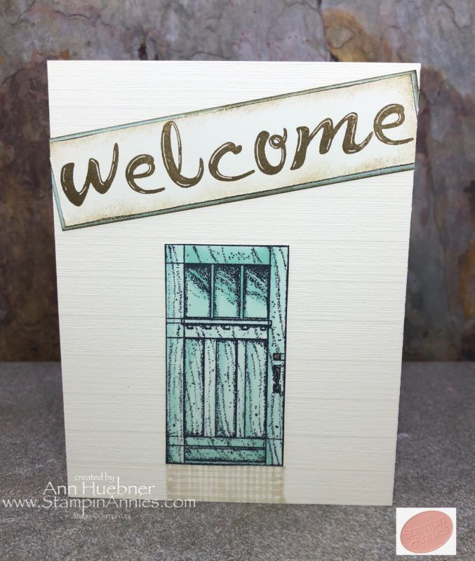 New Home Card, Welcome Home, In This World su, tri-fold card with Barn Door saying inside