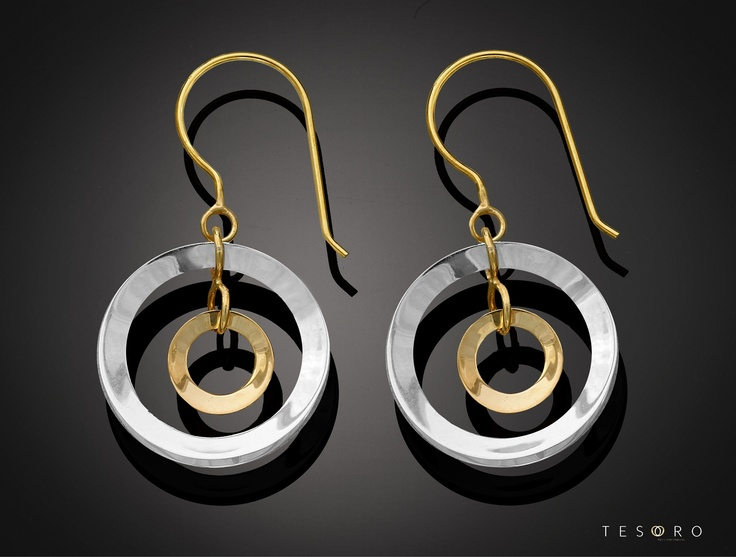 New Tesoro dangle earrings, set in 9 karat yellow and white gold. MADE IN ITALY