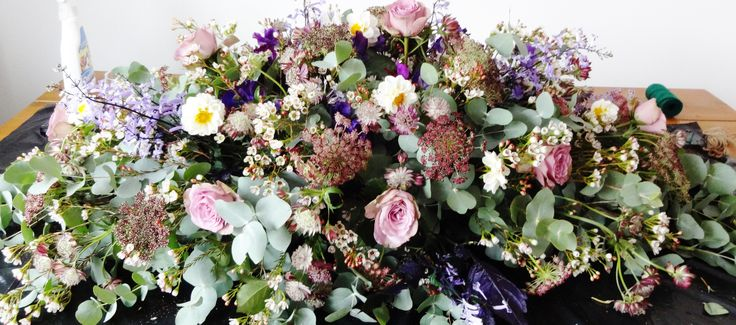 English Garden Coffin Spray - Holly Cadogan Flowers