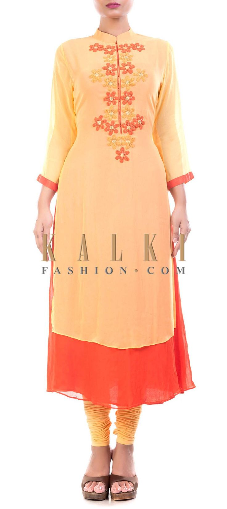Buy Online from the link below. We ship worldwide (Free Shipping over US$100) Price- $129 Click Anywhere to Tag http://www.kalkifashion.com/peach-and-orange-high-neck-tunic-with-chiffon-flowers.html