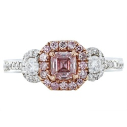 18 Karat Rose and White Gold Ring with an Emerald Cut Natural Pink Diamond with Two Full Cut Diamonds, Surrounded by Colorless Diamonds.Inten Pink, Nature Pink, Intense Pink, Diamonds Rings, Inten Nature, Fancy Intense, Stones Rings, Emeralds Cut, Pink Diamonds