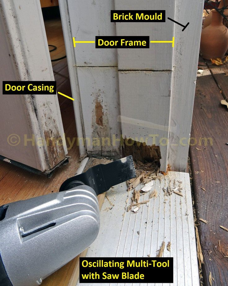 Exterior Door Frame Repair Saw Out Rotted Section In