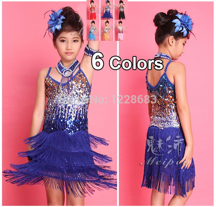 Дети девочки сальса платья самба одежда пайетки бахрома короткая танцевальный зал платья самба костюм