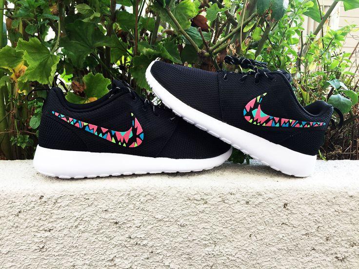Womens Custom Nike Roshe Run sneakers, Infrared, Aqua, Teal, Lime, trendy design, Cute nikes, Customized swoosh