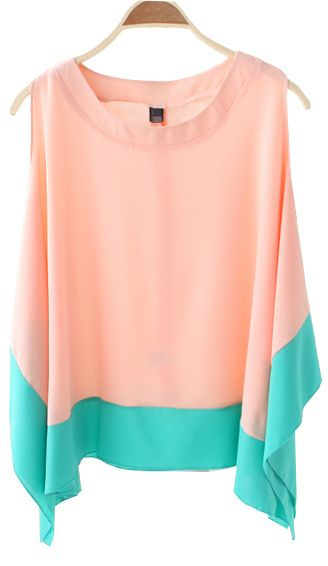 Color Matching Sleeveless Irregular Chiffon Shirt Pink + Mint #wearabledesign #designtrend