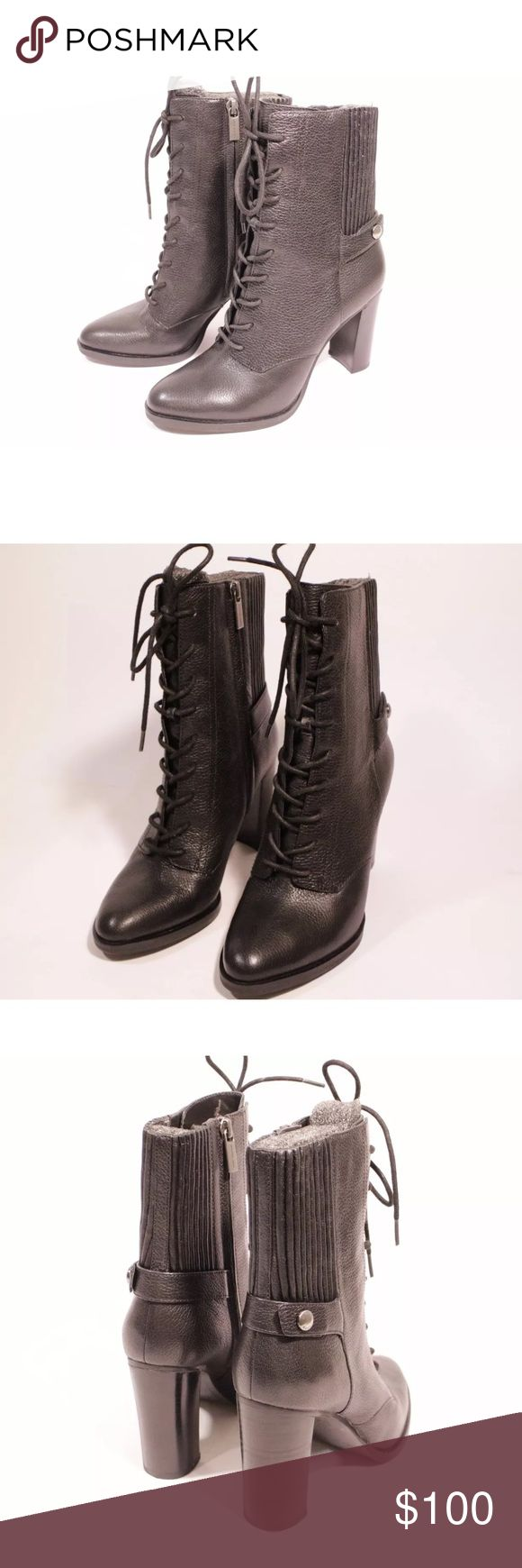 Michael kors black leather lace up booties Used as store displays and close to new condition! Authentic. Genuine leather. Super cute! Michael Kors Shoes Ankle Boots & Booties