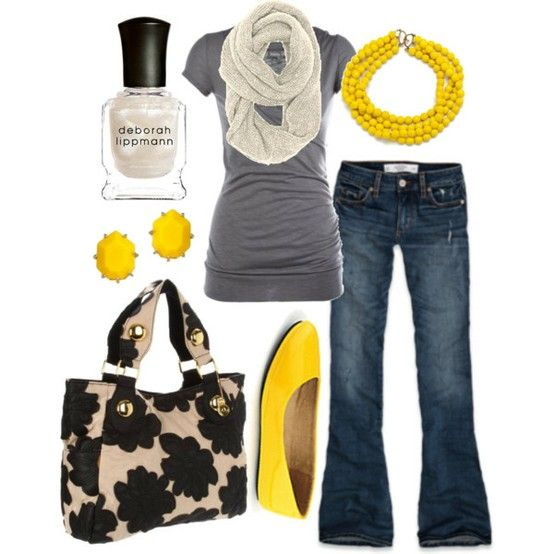 yellow.: Colors Combos, Pop Of Colors, Yellow Flats, Grey Yellow, Yellow Shoes, Yellow Accent, Spring Outfits, Gray Yellow, Yellow Accessories