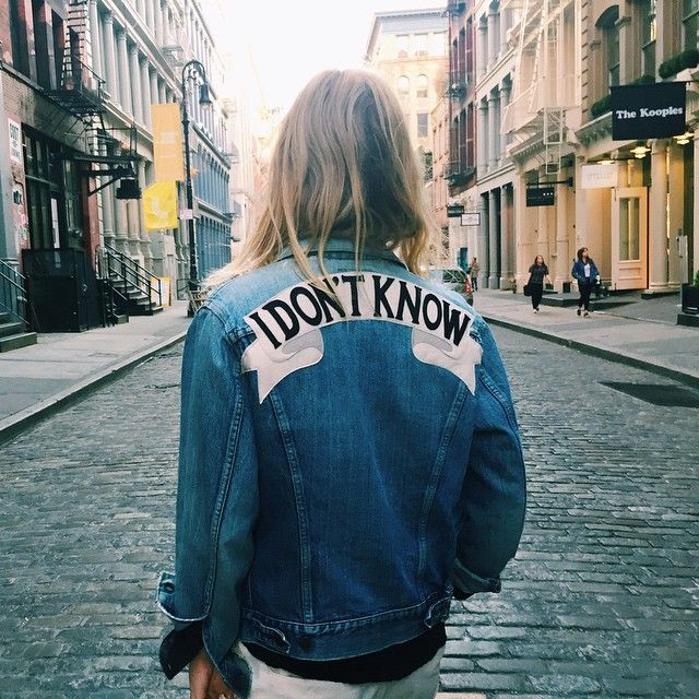 """I don't know"" jeans jacket. Photo by Emily Rosser."