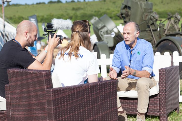 Randolph Fiennes being interviewed by the #CVHF media team at Chalke Valley History Festival 2015, Ebbesbourne Wake, #Wiltshire, UK #History