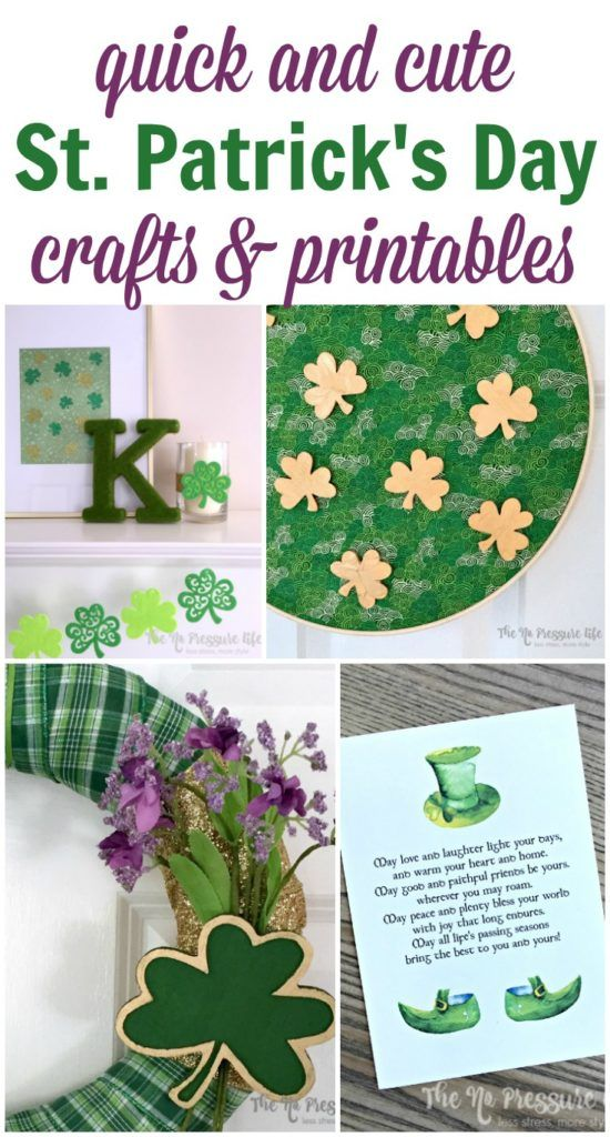 Learn how to make quick and easy St. Patrick\'s Day crafts and decor with these simple tutorials. Check out an easy wreath, embroidery hoop craft, DIY mantel decorations, and free printables! #StPatricksDay #StPattysDay StPatricksDayCraft #StPatricksDayDecor