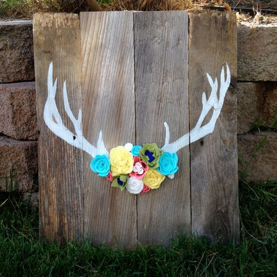 Wooden Sign Antler With Felt Flowers Wool Doors And Flower