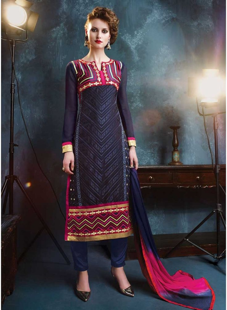 Classy Nevy Blue With Patch Border Work Churidar Suit. Pair With Matching Santoon inner,Bottom And Nazneen Dupatta.   http://www.angelnx.com/Salwar-Kameez/Pakistani-Suits/classy-nevy-blue-with-patch-border-work-churidar-suit_10430