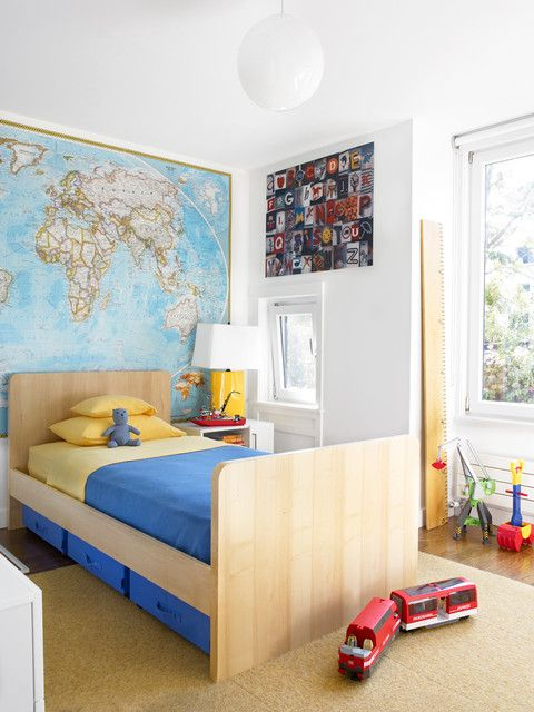 Small Toddler Room Ideas Near Wooden Bed Along With Blue Quilt Near Wide World Map On Wall