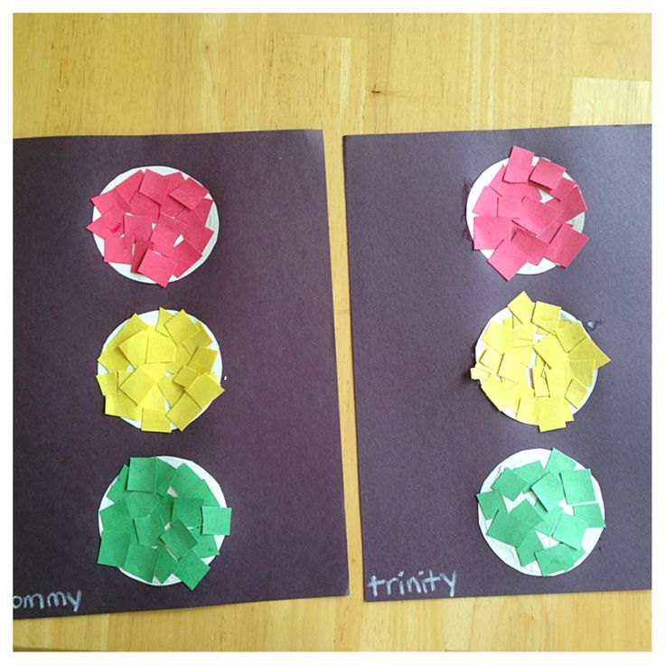 Help your child make a traffic light by helping to glue pieces of the correct colored paper on to white circles.