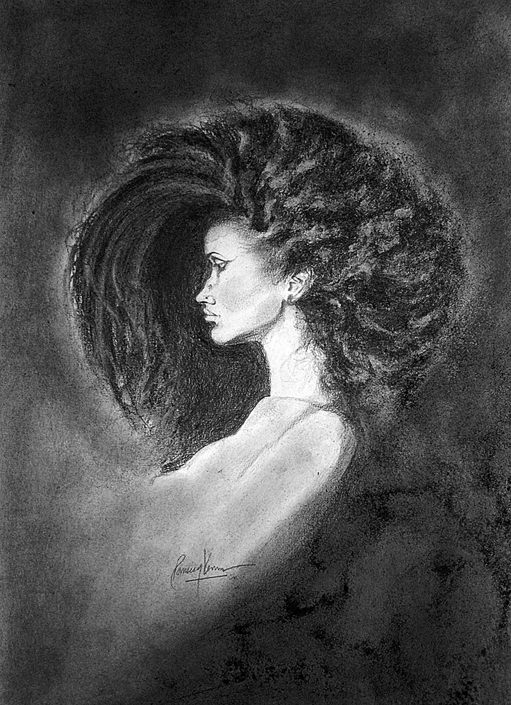 Full Moon (charcoal) - Completed: Portraits Watercolor, Moon Charcoal, Drawings Portraits, Full Moon