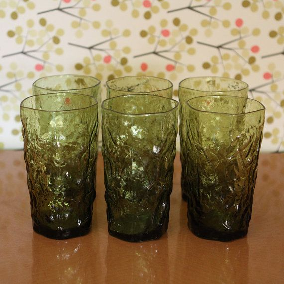Vintage Green Drinking Glasses by BettysKitschen on Etsy, $24.00. I've also found these at goodwill.