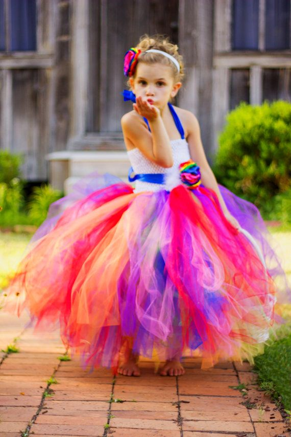 Rainbow Love Rainbow flower girl tutu dress by WildHeartsBoutique
