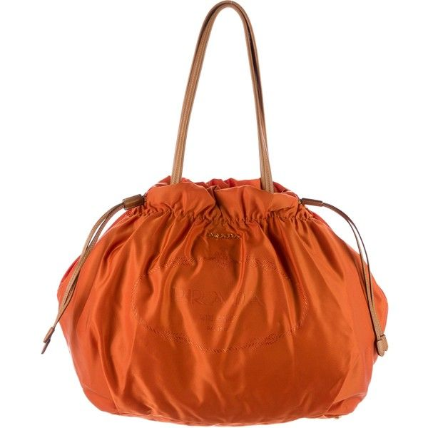 Pre-owned Prada Tessuto Drawstring Bag ($395) ❤ liked on Polyvore featuring bags, orange, draw string bag, flat bags, orange drawstring bag, preowned bags and orange bag
