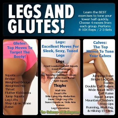 Best Exercises for Glutes Legs/Thighs and Calves
