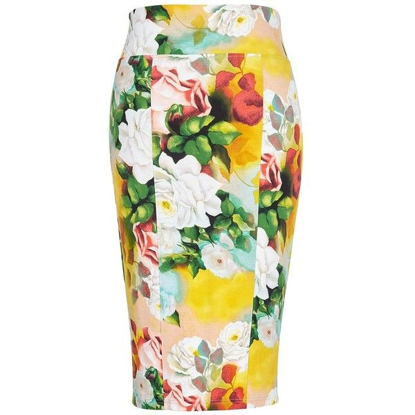 Melissa Mccarthy Seven7 Plus Floral-Print Pencil Skirt ($47) ❤ liked on Polyvore featuring plus size women's fashion, plus size clothing, plus size skirts, pink, flower print skirt, elastic waist pencil skirt, floral skirt, pull on skirts and floral-print pencil skirts