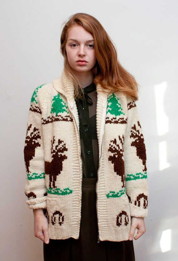 vintage cowichan sweater / chunky deer zip up by youngcaptive, $50.00