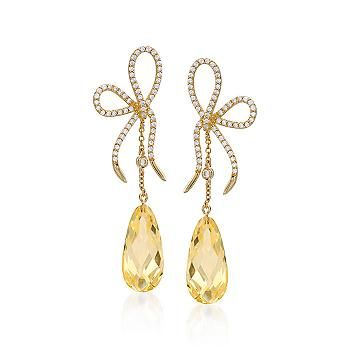 Amazing Glimmering Drop Earrings Complete With Cute Bows