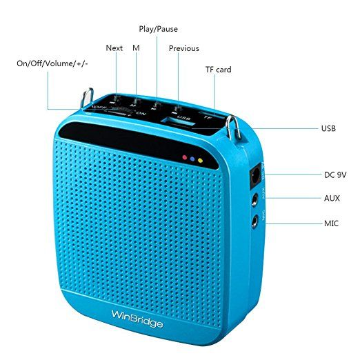 Amazon.com: WinBridge S613 2.4G Wireless Digital Voice Amplifier with Power Supply Microphone for Special Teaching Amplifier 18W 7.4V/1200MAH High Volume Blue: Musical Instruments