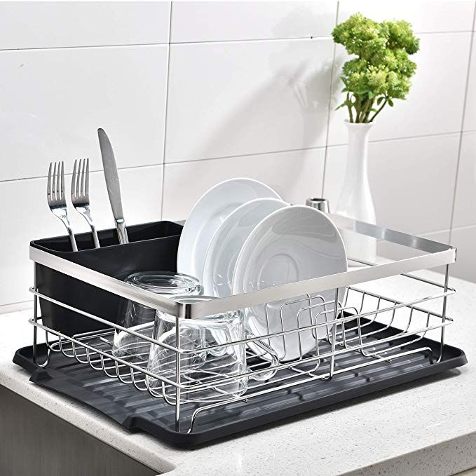 Popilion Quality Kitchen Sink Side Antimicrobial Draining Dish Drying Rack Dish Rack With Black Drainboard Review Dish Rack Drying Quality Kitchens Dish Racks