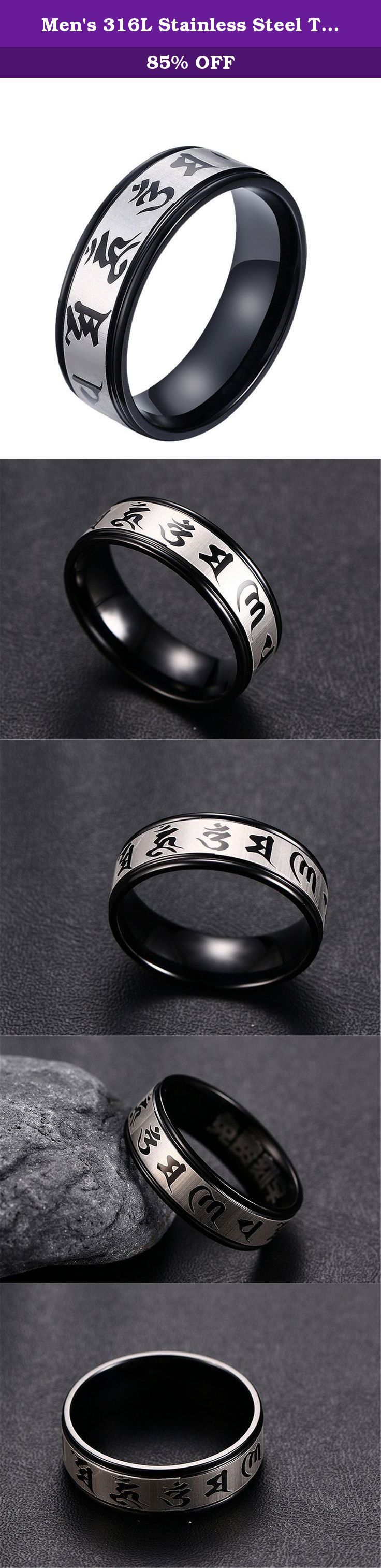 Men's 316L Stainless Steel Two Tone Chinese Characters Scripture Beveled Edge Band Ring 8mm(Pattern A(stainless-steel),8). Men's 316L Stainless Steel Two Tone Chinese Characters Scripture Beveled Edge Band Ring 8mm How to know your size: Step 1: Cut a strip of paper long enough to fit around your finger. Step 2: Wrap the paper somewhat tightly around your finger at the knuckle and mark where the two ends meet. Step 3: Measure the length of the paper from the end to your pencil mark. Warm...