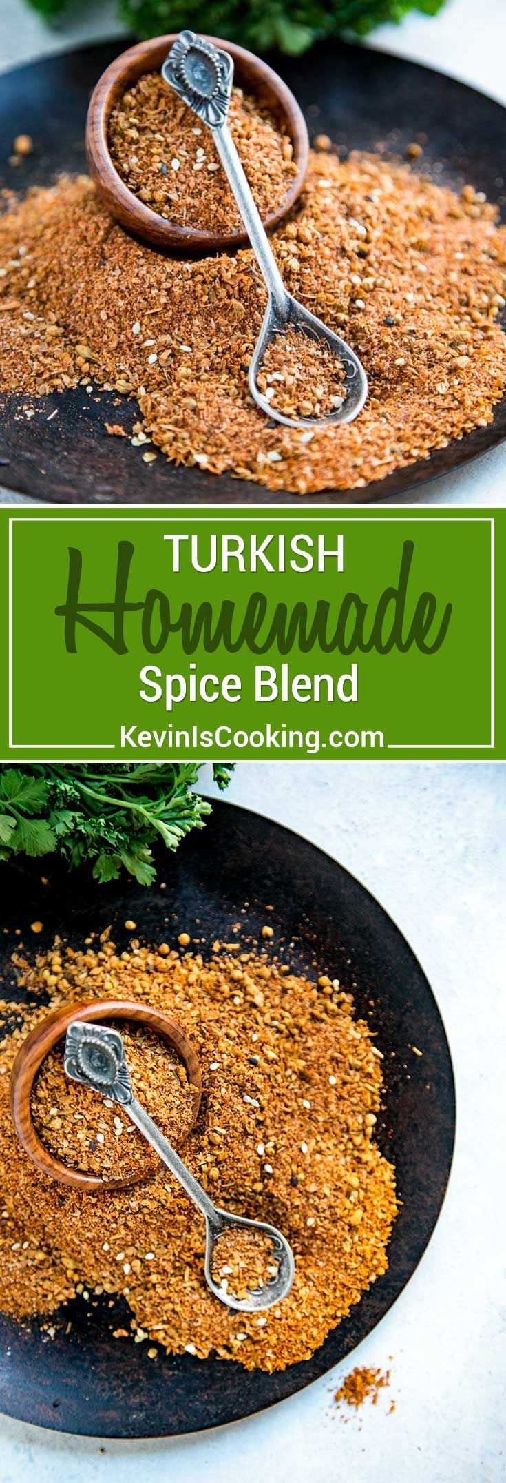 This Turkish Spice Blend isa warm and earthy seasoning rich with cumin, pepper, paprika and Middle Eastern spices and sesame seeds. Perfect on roasted meats, as a dry rub and seasoning. via @keviniscooking