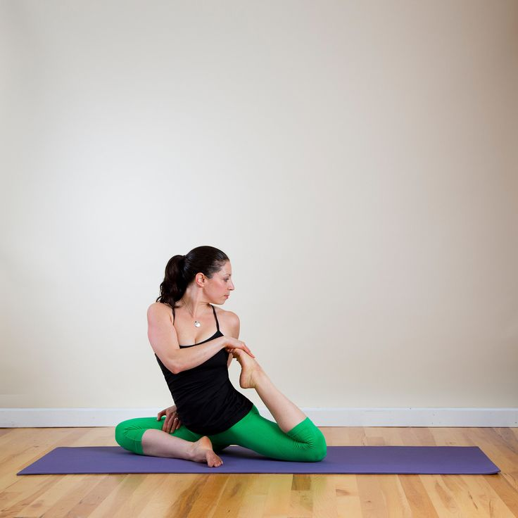 From Rotated Pigeon, inhale to lift the torso up and bend your left knee. Reach for your left foot with your right hand and wrap your left fingers around the top of your right thigh. Gaze over the left shoulder, holding for five breaths.  Source: Louisa Larson Photography