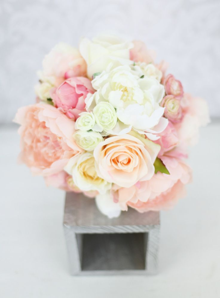 Silk Bride Bouquet Peony Flowers Pink Peach Cream Spring Mix Shabby Chic Wedding Decor. $89.00, via Etsy.