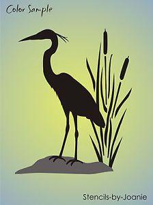 "Wetland Bird Stencil 12"" Tall Great Blue Heron Cattails Rustic ..."