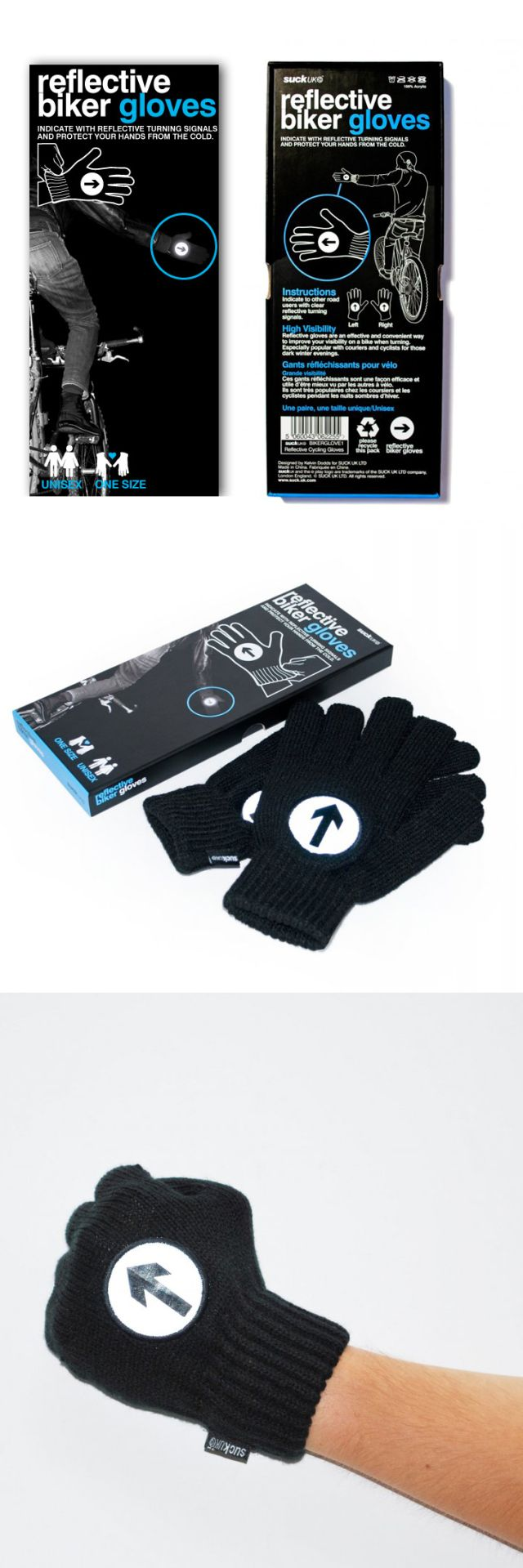 Reflective bicycling gloves.
