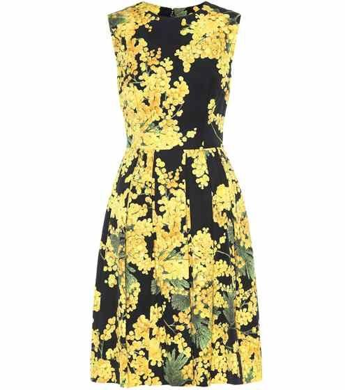 Sleeveless cotton-blend dress   Carolina Herrera
